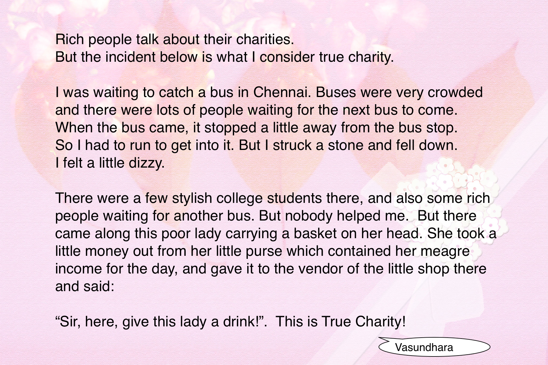 True Charity does not depend on wealth